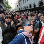 Gegen faschistische Theaterleiter: Ungarische Demonstranten.