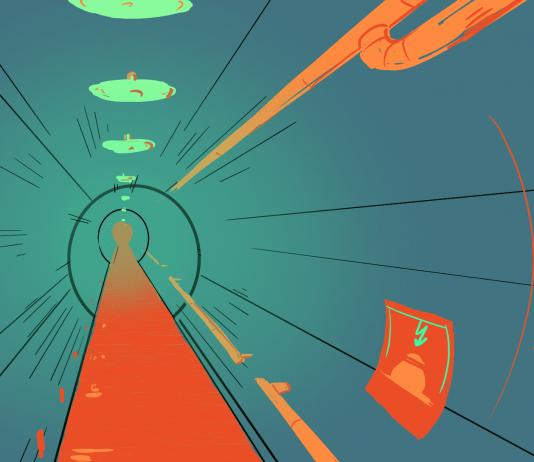 Eine Zeichnung zeigt einen Tunnel der Berliner Unterwelten