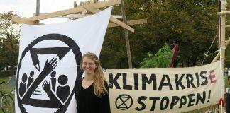 Hannah Finke im Klimacamp von Extinction Rebellion vor dem Reichstag in Berlin. Foto: Cosima Kopp