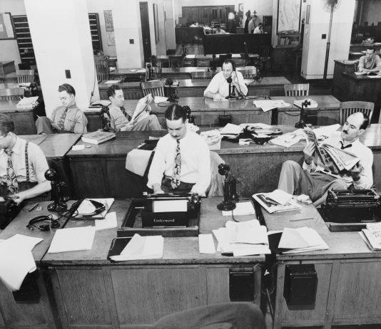 """Journalismus der """"guten alten Zeit"""": New York Times Maschinensaal 1942:"""