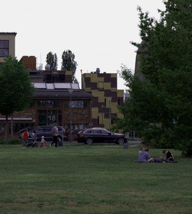 Auf der Wiese hinter dem Erwin-Schrödinger-Zentrum sieht das ganz anders aus. Familien gehen spazieren und Gruppen von Studierenden nutzen die Grünflächen zum Entspannen und Sport treiben. Foto: Frederike Ruge
